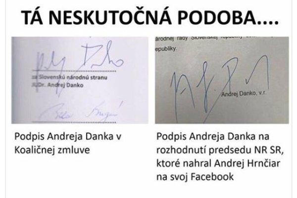 Podpis z poverenia pre Andreja Hrnčiara porovnal Jozef Viskupič z hnutia Obyčajní ľudia na svojom Facebooku s podpisom z koaličnej zmluvy.