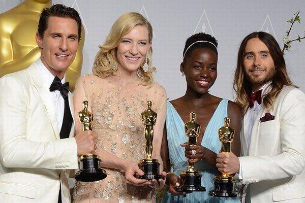 Držitelia Oscarov: Matthew McConayghey, Cate Blanchet, Lupita Nyongh a Jared Leto.