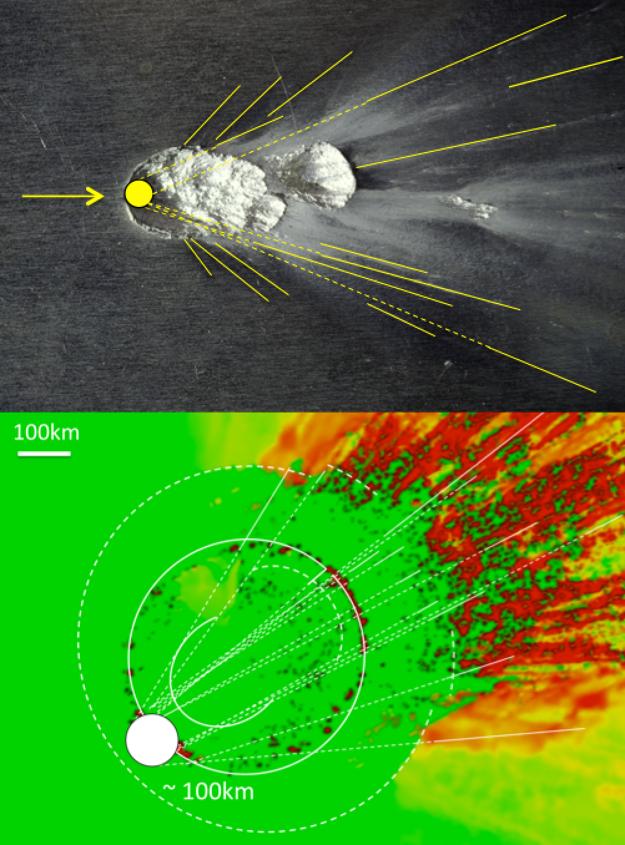 Porovnanie experimentu s projektilom (hore) a počítačovej simulácie nárazu so 100 km telesom (dole) dokázal, že situácia z laboratória platí aj vo väčšom meradle.