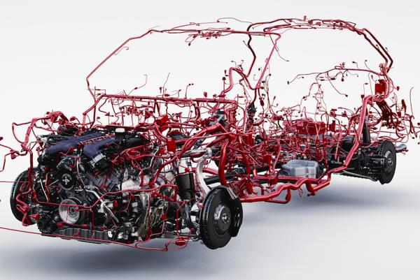 Pohľad na systém elektroinštálacie v Bentley Bentayga