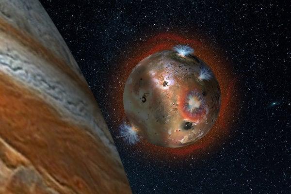 Jupiter a jeho sopečný mesiac Io.