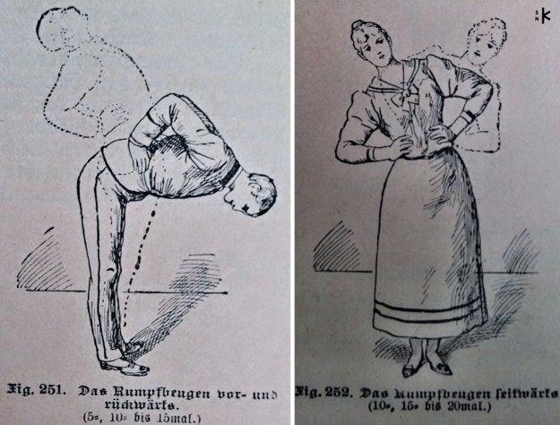 Návody na cvičenie pre mužov i ženy z roku 1899.