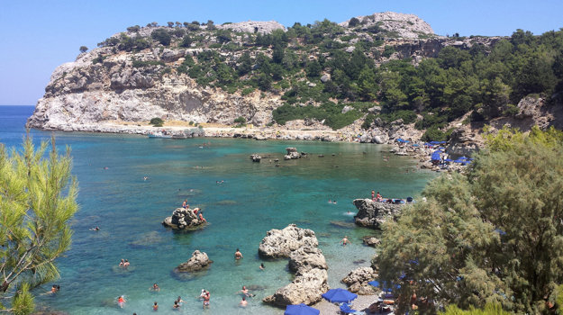 Rhodos, pobrežie v okolí Faliraki.