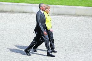 Barack Obama a Angela Merkelová.