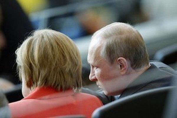 Angela Merkelová s ruským prezidentom Vladimírom Putinom.