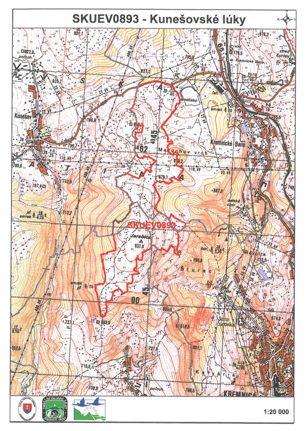Navrhované územie je vyznačené červenou.