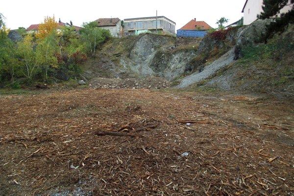 Z bane odstránili časť zelene – na svahu aj pod ním. Rozštiepené dreviny tu nechali.