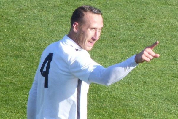 Laci Szöcs sa teší po premiérovom góle v drese MFK Skalica.