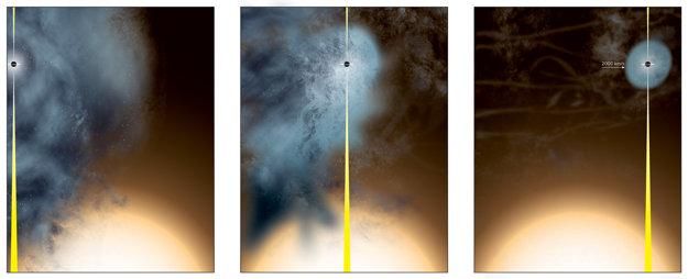Umelecké zobrazenie vzniku nahej čiernej diery B3 1715+425.