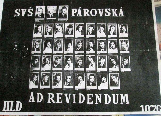 Tablo déčkarov z roku 1971.