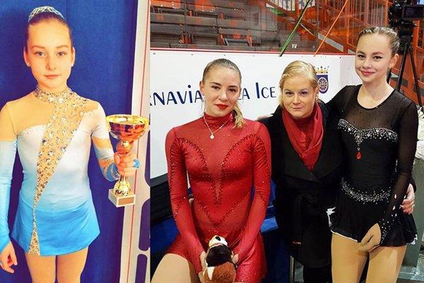 Na snímke vľavo Patrícia Elisabete Černíková. Vpravo Lucia Štefanková, trénerka Monika Kuštárová a Katka Stračárová.