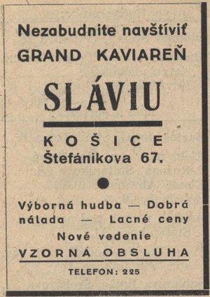 Reklama kaviarne Slávia.