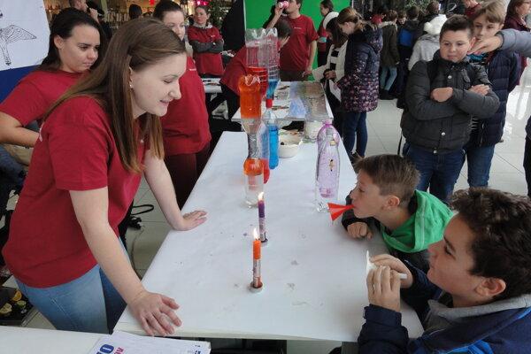 Deti sa snažili sfúknuť sviečky lievikom.
