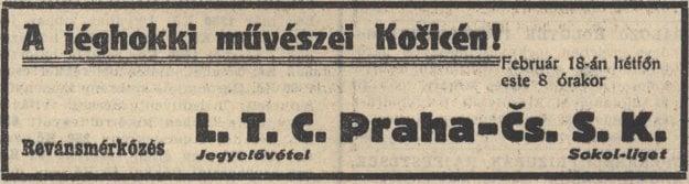 Dobová upútavka na zápas košického ČsŠK a LTC Praha.