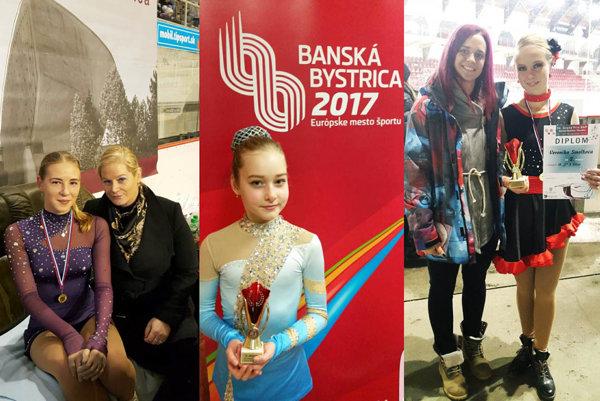 Zľava Lucia Štefanková, trénerka Monika Kuštárová a Patrícia Černíková (všetky z HK Kraso). Vpravo Veronika Smolková s trénerkou Lujzou Halásovou (KKM Nitra).