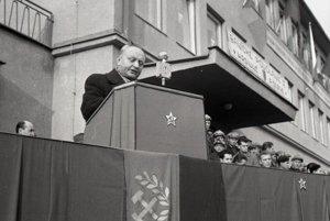 Riaditeľ novej bane Dolina Michal Ondírko pri slávnostnom prejave.