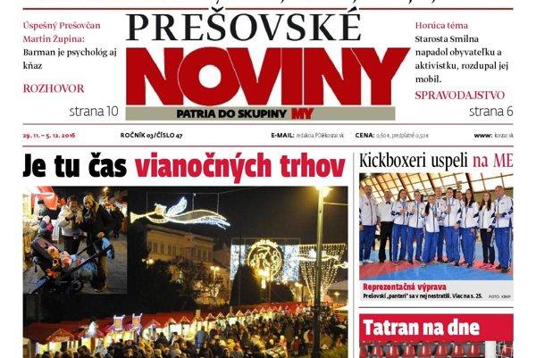 Titulná strana týždenníka Prešovské noviny 47/2016.