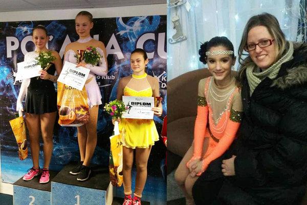 Na ľavej snímke úplne vľavo Lucia Šurmanová (HK Kraso). Vpravo trénerka Lucia Starovičová s Tamarou Hádekovou (KKM Nitra).