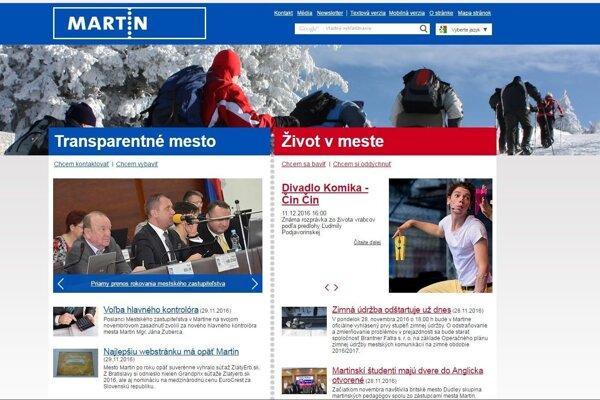 Webová stránka mesta Martin.