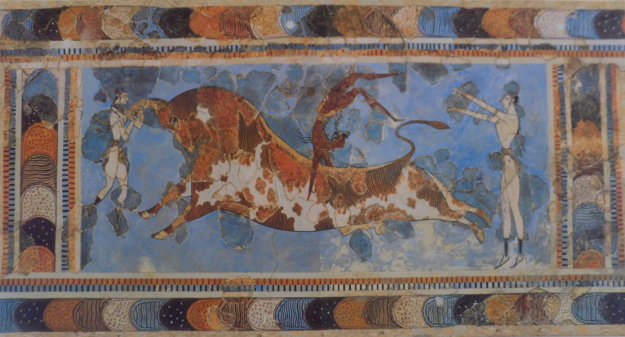 Starí Gréci takto zobrazili tradíciu preskakovania býka.