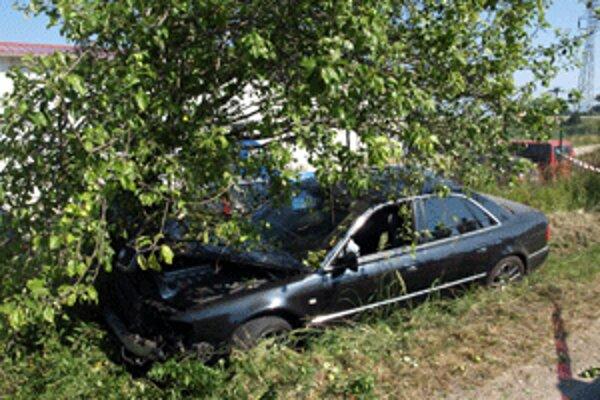 Zlodej prešiel len pár kilometrov a s ukradnutým autom narazil do stromu.