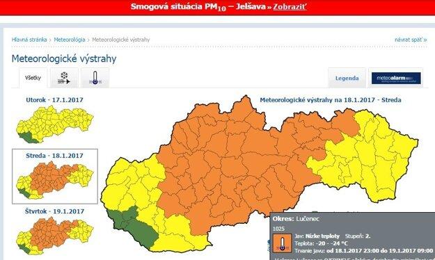 Výstraha platí pre celý región.