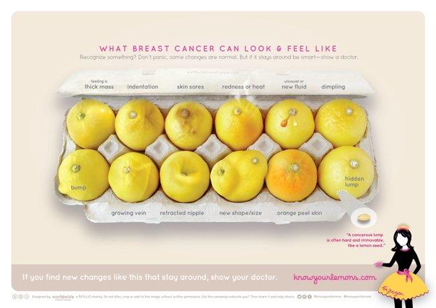 Citróny zobrazujú dvanásť symptómov rakoviny prsníka