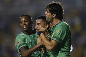 Gabriel Jesus počas osláv v priateľskom zápase, ilustračná foto.
