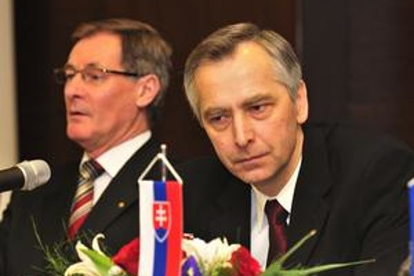 Pavol Hrušovský a Ján Figeľ na oslavách 20. výročia založenia KDH.
