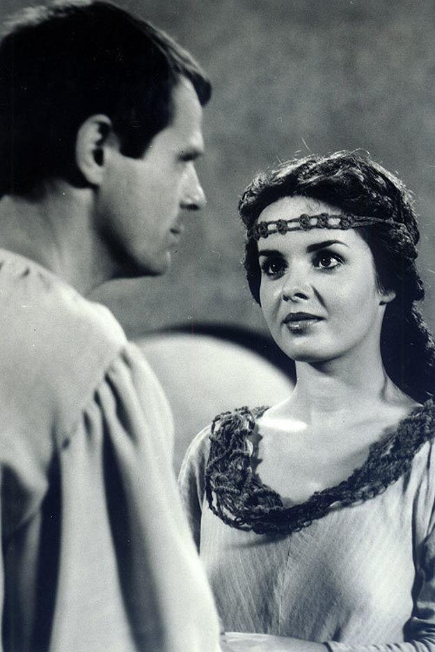 Mladá krásavica. V roku 1984 si zahrala s Milanom Kňažkom v inscenácii Heloisa a Abelard.