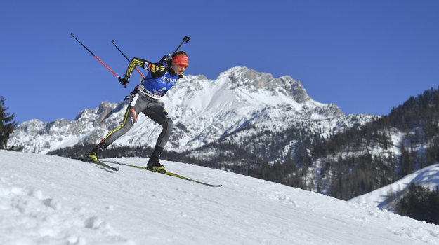 Anastasia Kuzminová na biatlonových majstrovstvách sveta v Rakúsku.