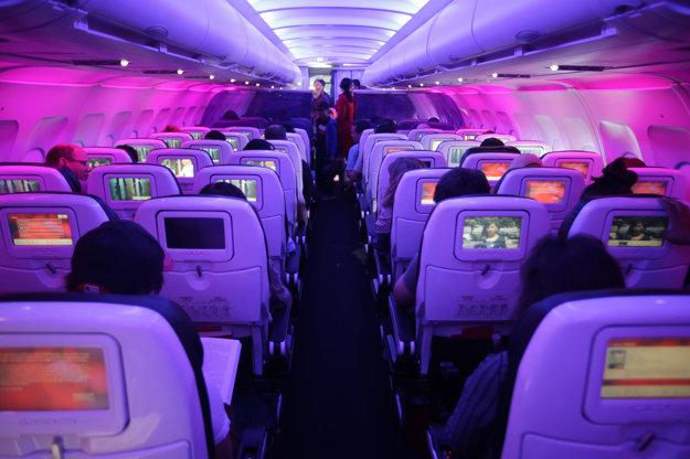 Náladové osvetlenie v lietadle Virgin America