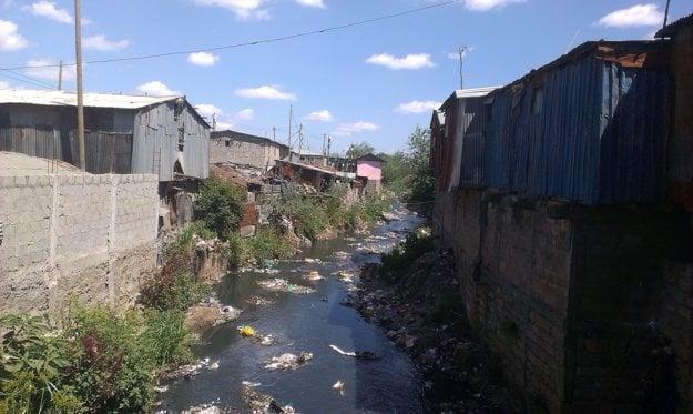 Ngong River in Mukuru slum