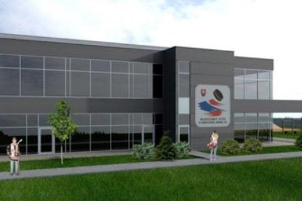 Vizualizácia haly s ľadovou plochou 40 x 20 metrov v Športovom centre pre deti a mládež. Návrh: Ing. arch. MATÚŠ VARGA
