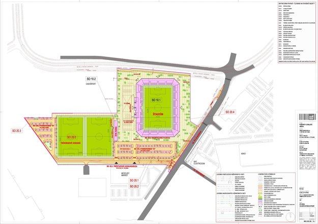 Projekt budúceho futbalového štadióna.