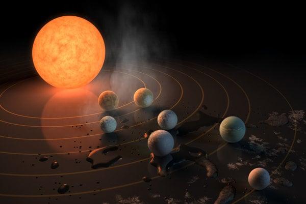 Umelecké zobrazenie hviezdy TRAPPIST-1 a jej planét.