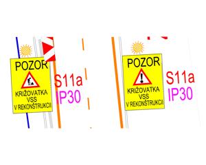 Vpravo na snímkach je navrhované dopravné značenie, bežne videné na slovenských cestách (vrátane už realizovanej časti stavby MET na B. Němcovej a Zimnej), odsúhlasené KDI Košice, vľavo je požadované dopravné značenie Prezídiom PZ.