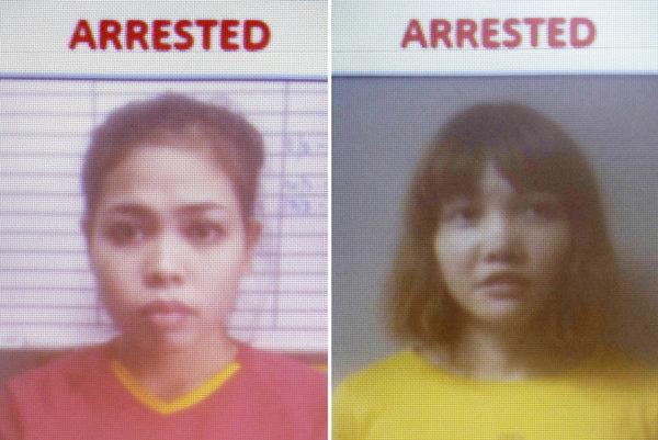 Z vraždy Kim Čong-nama sú obvinené dve mladé ženy - Siti Aisyahová z Indonézie (vľavo) a Doan Thi Huong z Vietnamu.