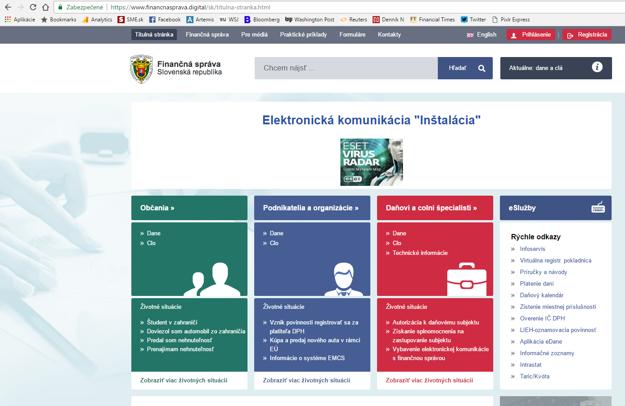 Falošný web Finančnej správy