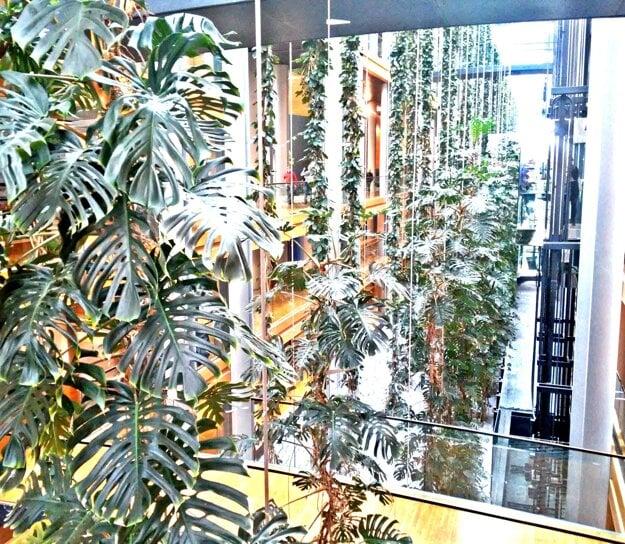 Trochu prírody. Od podlahy po strop rastú živé a ťahavé rastliny naprieč celou dĺžkou átria parlamentnej budovy. Večer, v čase, keď sa chodby vyprázdnia, sa spustia trysky, ktoré zeleň zavlažujú.