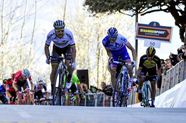 Na nedávno skončených pretekoch Tirreno-Adriatico vyhral Peter Sagan (vľavo) dve etapy.