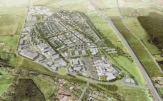 Nová štvrť Bory má tri zóny – bývanie, nákupné centrum ašpecializované veľké predajne.