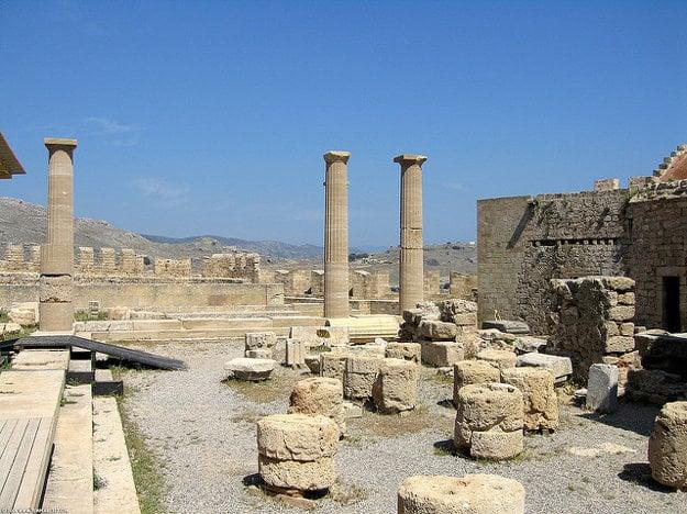 Archeologické nálezisko pri meste Lindos.