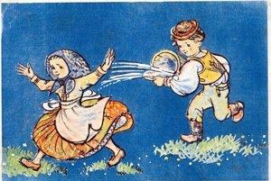 Tradičná oblievačka ako motív na veľkonočnej pohľadnici.