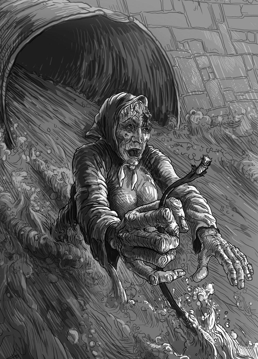 V čiernom ústí kanála sa čosi hýbalo, čosi sa blížilo, pridržiavalo steny, šmátralo rukami.