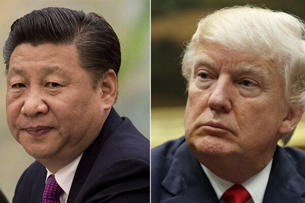 Čínsky prezident Si Ťin-pching a americký prezident Donald Trump.