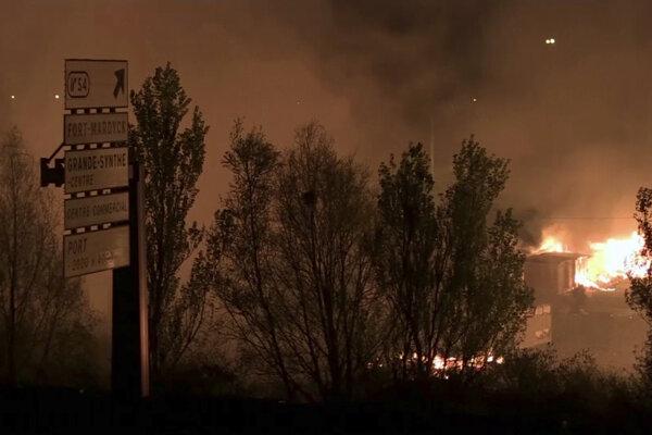 Požiar v utečeneckom tábore.