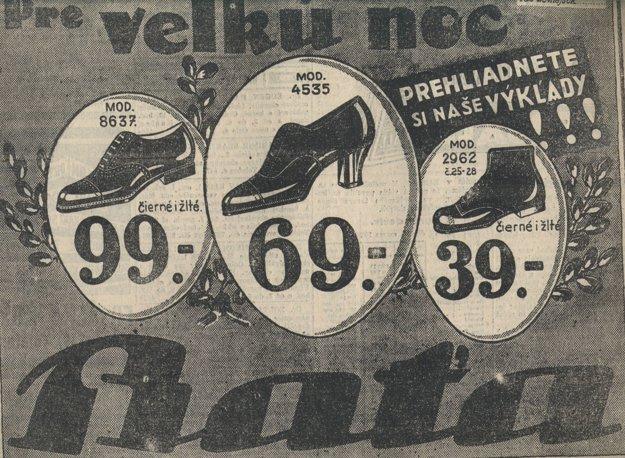 Veľkonočná reklama na obuv Baťa.