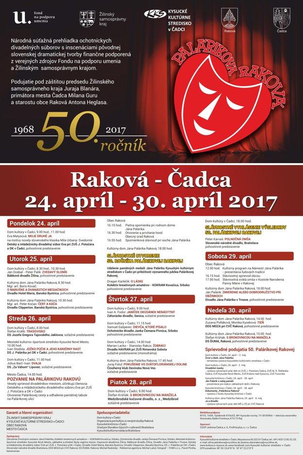 Program 50. ročníka Palárikovej Rakovej