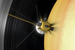 Vizualizácia ponoru Cassini medzi prstence a oblaky Saturnu.